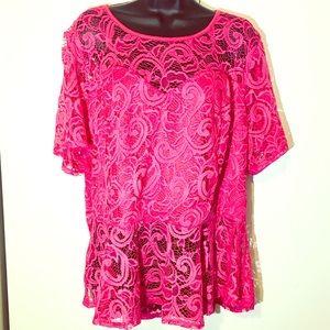 Ashley Stewart Hot Pink Lace Peplum Top